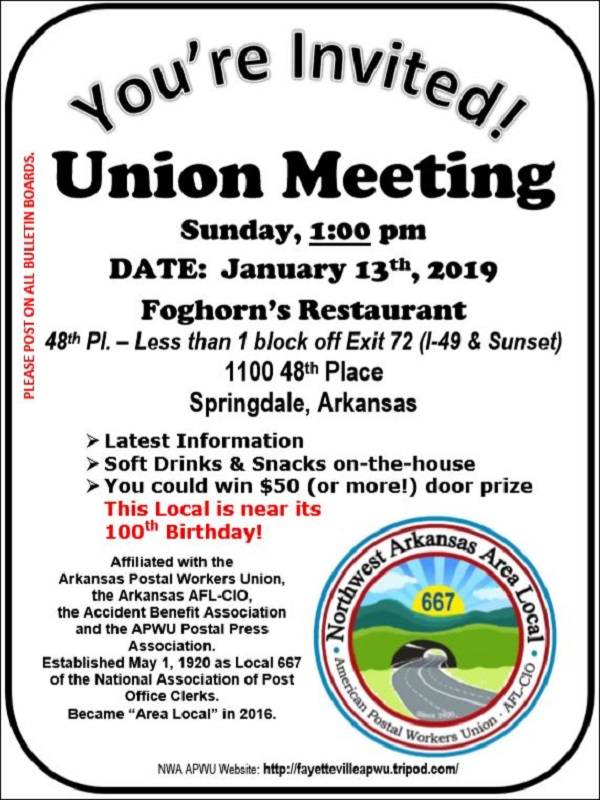 Fayetteville Arkansas Apwu Local 667